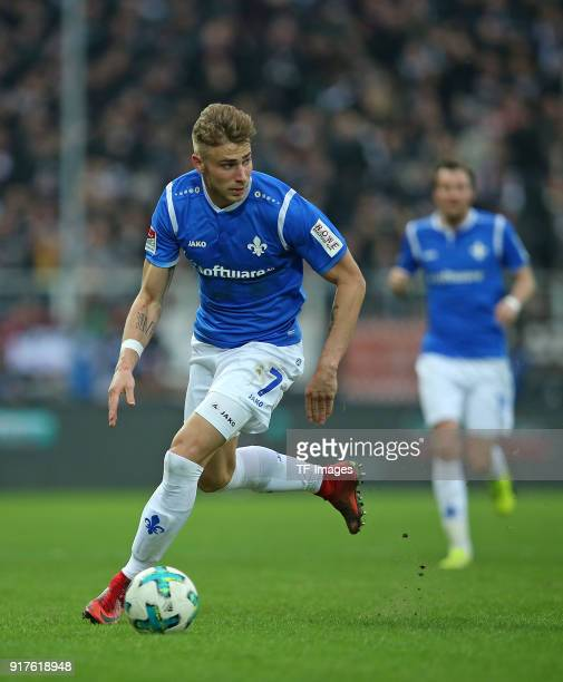 Felix Platte of Darmstadt controls the ball during the Second Bundesliga match between FC St Pauli and SV Darmstadt 98 at Millerntor Stadium on...