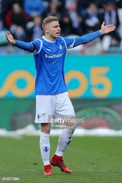 Felix Platte of Darmstadt gestures during the Second Bundesliga match between SV Darmstadt 98 and MSV Duisburg at MerckStadion am Boellenfalltor on...