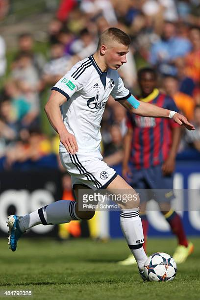 Felix Platte of FC Schalke 04 during the UEFA Youth League Semi Final match between Schalke 04 and FC Barcelona at Colovray Stadion on April 11 2014...