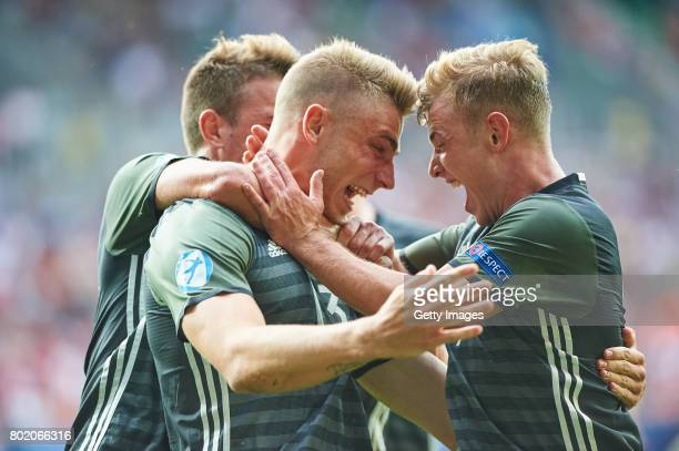 Felix Platte of Germany celebrates scoring his goal during the UEFA European Under21 Championship Semi Final match between England and Germany at...