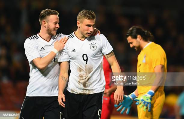 Felix Platte of Germany celebrates with Cedric Teuchert during the UEFA Under21 Euro 2019 Qualifier match between U21 of Germany and U21 of...