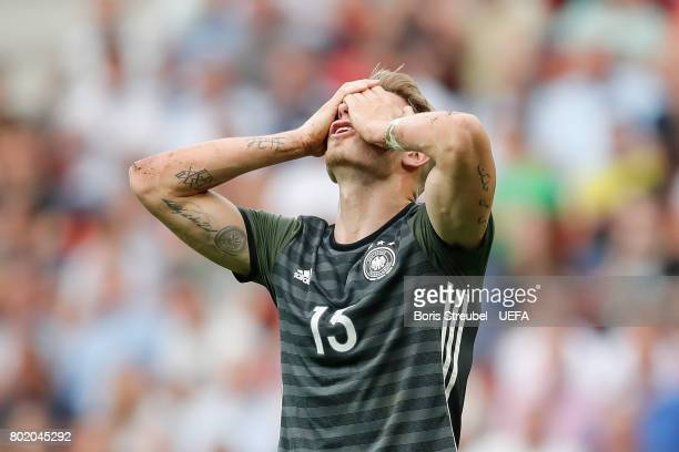 Felix Platte of Germany reacts to having his goal disallowed during the UEFA European Under21 Championship Semi Final match between England and...
