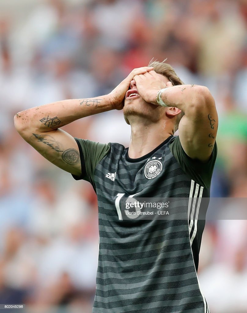 Felix Platte of Germany reacts to having his goal disallowed during the UEFA European Under-21 Championship Semi Final match between England and Germany at Tychy Stadium on June 27, 2017 in Tychy, Poland.