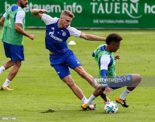 Felix Platte of Schalke and Thilo Kehrer of Schalke battle for the ball during the Training Camp of FC Schalke 04 on July 27 2017 in Mittersill...