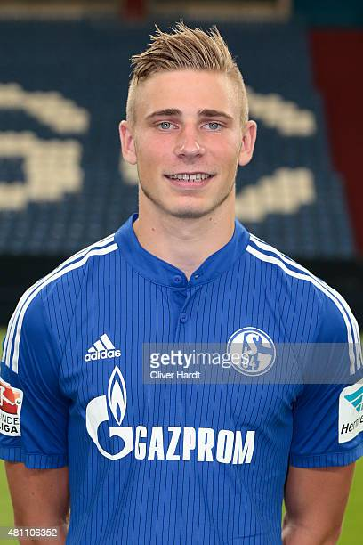 Felix Platte poses during the team presentation of FC Schalke 04 at VeltinsArena on July 17 2015 in Gelsenkirchen Germany