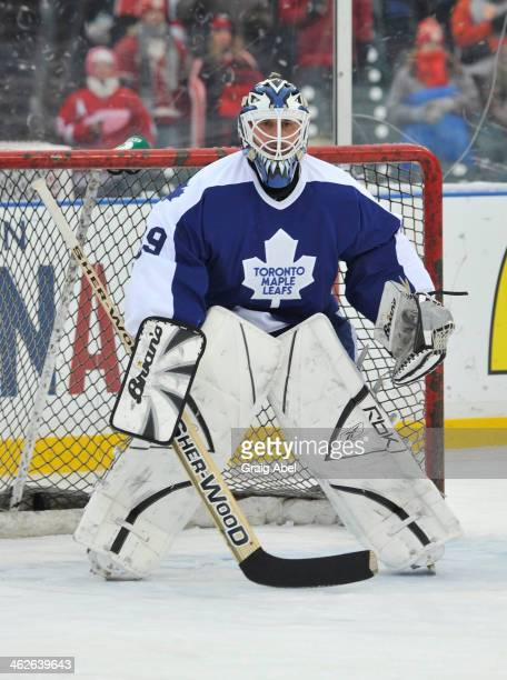 Felix Potvin of the Toronto Maple Leafs Alumni prepares for a shot against the Detroit Red Wings Alumni during game action on December 31 2013 at...
