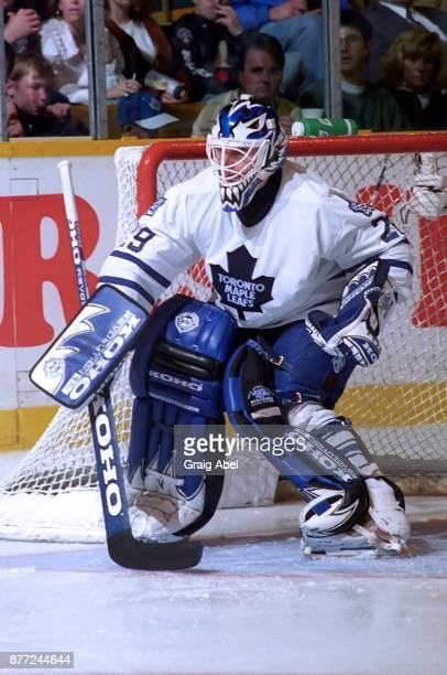 Felix Potvin of the Toronto Maple Leafs Game skates against the St Louis Blues during NHL game action on April 6 1996 at Maple Leaf Gardens in...