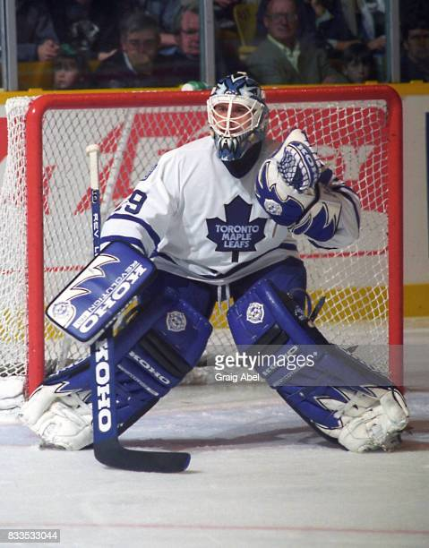 Felix Potvin of the Toronto Maple Leafs prepares for a shot against the Montreal Canadiens during NHL Preseason game action on September 22 1995 at...