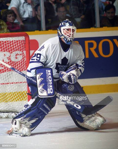 Felix Potvin of the Toronto Maple Leafs skates against the Calgary Flames during NHL game action on October 20 1995 at Maple Leaf Gardens in Toronto...