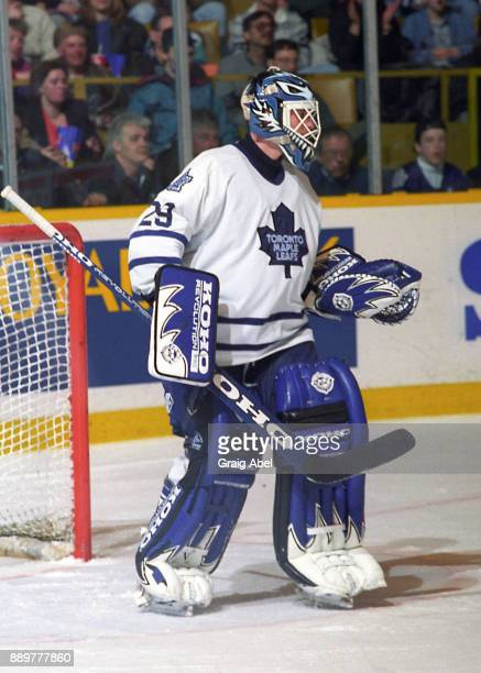 Felix Potvin of the Toronto Maple Leafs skates against the Calgary Flames during NHL game action on March 9 1996 at Maple Leaf Gardens in Toronto...
