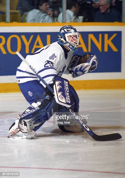 Felix Potvin of the Toronto Maple Leafs skates against the Chicago Black Hawks on January 24 1996 at Maple Leaf Gardens in Toronto Ontario Canada