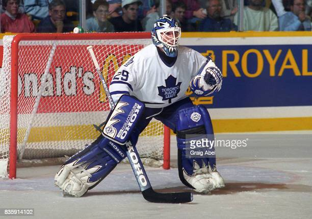 Felix Potvin of the Toronto Maple Leafs skates against the Colorado Avalanche during NHL preseason game action on September 27 1995 at Maple Leaf...