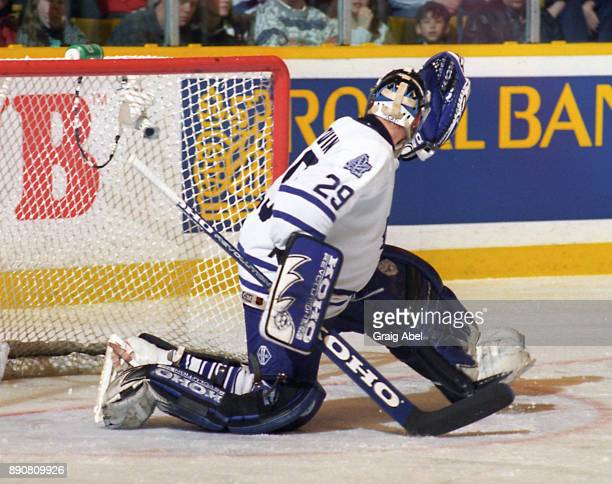 Felix Potvin of the Toronto Maple Leafs skates against the Dallas Stars on March 15 1996 at Maple Leaf Gardens in Toronto Ontario Canada