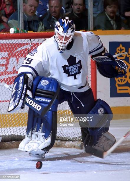 Felix Potvin of the Toronto Maple Leafs skates against the Edmonton Oilers during NHL game action on April 13 1996 at Maple Leaf Gardens in Toronto...