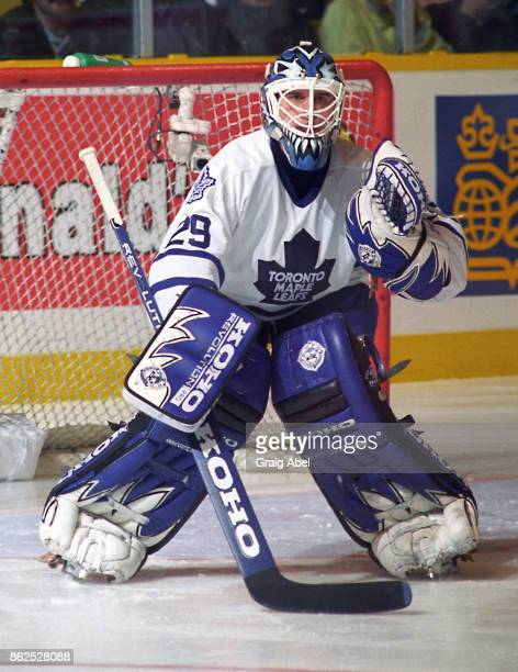 Felix Potvin of the Toronto Maple Leafs skates against the Los Angeles Kings during NHL game action on October 28 1995 at Maple Leaf Gardens in...