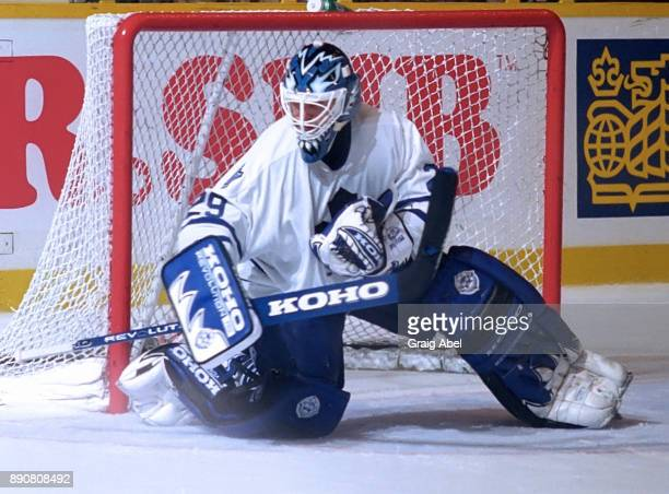 Felix Potvin of the Toronto Maple Leafs skates against the New York Islanders during NHL game action on October 10 1995 at Maple Leaf Gardens in...