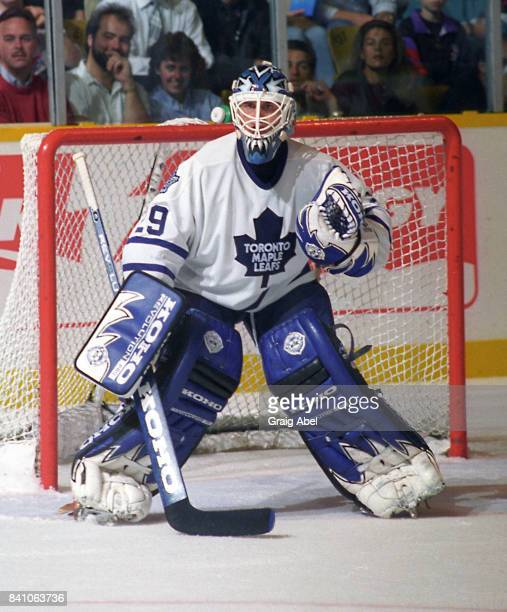 Felix Potvin of the Toronto Maple Leafs skates against the San Jose Sharks during NHL game action on October 17 1995 at Maple Leaf Gardens in Toronto...