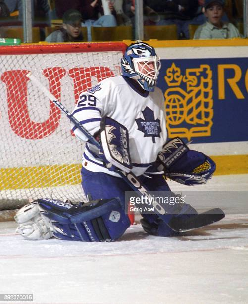 Felix Potvin of the Toronto Maple Leafs skates against the San Jose Sharks during NHL game action on February 14 1996 at Maple Leaf Gardens in...