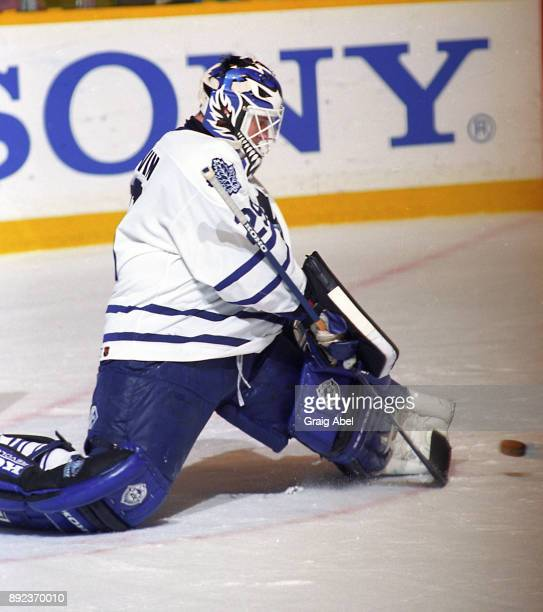 Felix Potvin of the Toronto Maple Leafs skates against the Vancouver Canucks during NHL game action on March 17 1996 at Maple Leaf Gardens in Toronto...