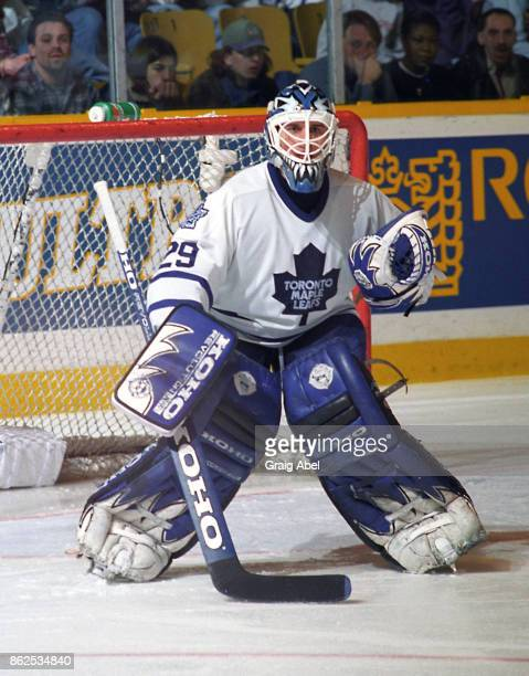Felix Potvin of the Toronto Maple Leafs skates during game action against the Detroit Red Wings on February 18 1996 at Maple Leaf Gardens in Toronto...