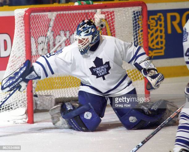 Felix Potvin of the Toronto Maple Leafs skates during game action against the Buffalo Sabres on February 10 1996 at Maple Leaf Gardens in Toronto...
