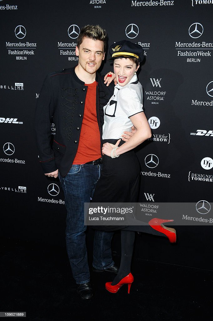 Felix Rachor and Wanda Badwal attend Lena Hoschek Autumn/Winter 2013/14 fashion show during Mercedes-Benz Fashion Week Berlin at Brandenburg Gate on January 15, 2013 in Berlin, Germany.