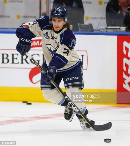 Felix Robert of the Sherbrooke Phoenix skates prior to his game against the Quebec Remparts at the Centre Videotron on October 29 2017 in Quebec City...