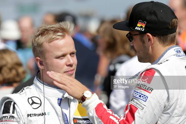 Felix Rosenqvist and and Maximilian Goetz looks on during the race of the DTM 2016 German Touring Car Championship at Nuerburgring on Septembmber 10...
