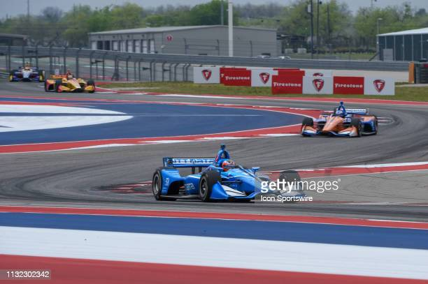 Felix Rosenqvist of Chip Ganassi Racing driving a Honda races through the turns during the IndyCar afternoon qualifications at Circuit of the...
