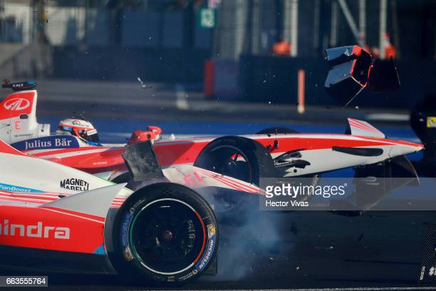 Felix Rosenqvist of Sweden and Mahindra Racing Team and Nick Heidfeld of Germany and Mahindra Racing Team on crash accident during the 2017 FIA...