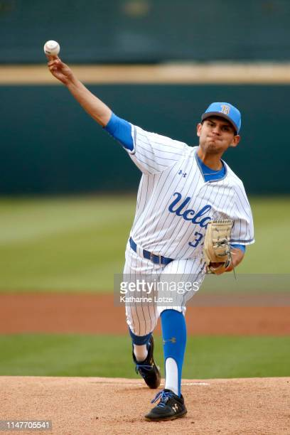 Felix Rubi of UCLA throws a pitch during a baseball game against Long Beach State at Jackie Robinson Stadium on May 07 2019 in Los Angeles California