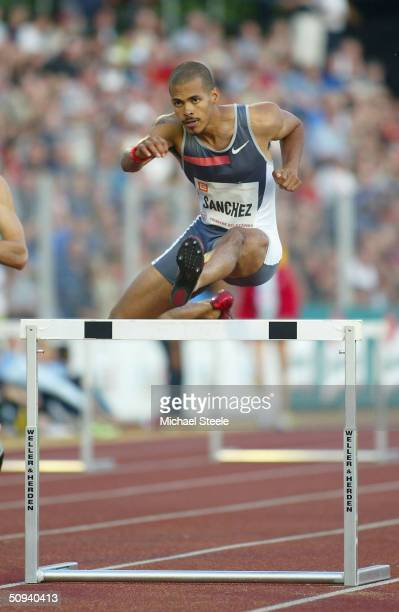 Felix Sanchez of Dominican Republic on his way to victory during the men's 400m hurdles race at the IAAF Golden Spike meet in Ostrava Czech Republic