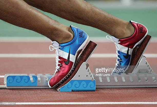 Felix Sanchez of the Dominican Republic shoes are seen before the men's 400 metre hurdle final on August 26 2004 during the Athens 2004 Summer...