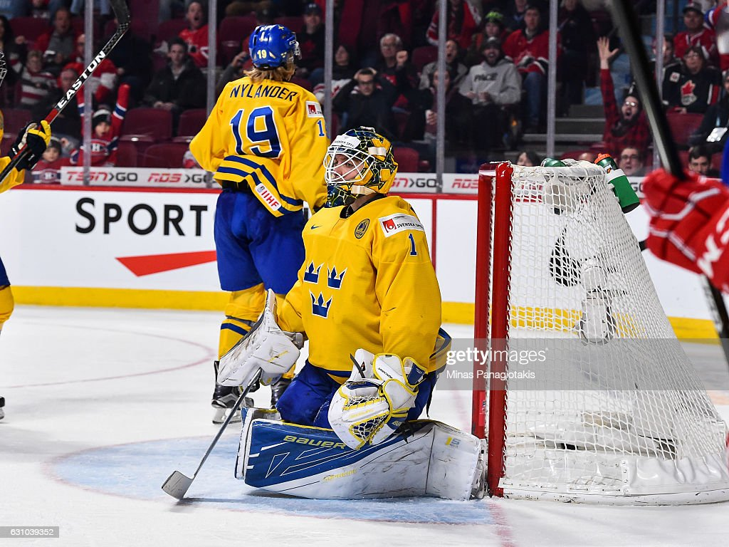Felix Sandstrom #1 of Team Sweden reacts after allowing a goal in overtime during the 2017 IIHF World Junior Championship bronze medal game against Team Russia at the Bell Centre on January 5, 2017 in Montreal, Quebec, Canada. Team Russia defeated Team Sweden 2-1 in overtime to win the bronze medal.