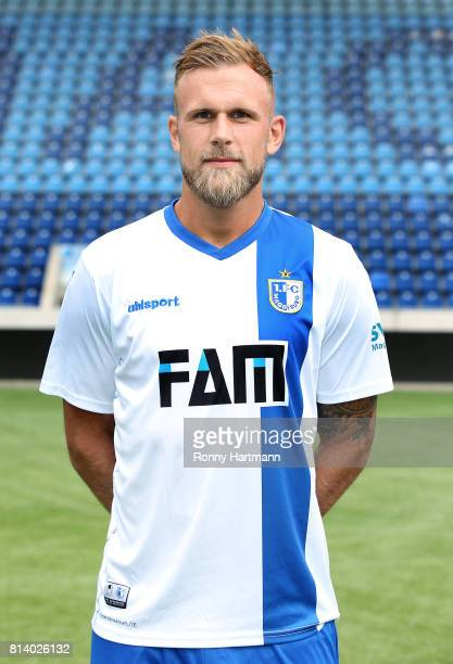 Felix Schiller poses during the team presentation of 1 FC Magdeburg at MDCCArena on July 13 2017 in Magdeburg Germany