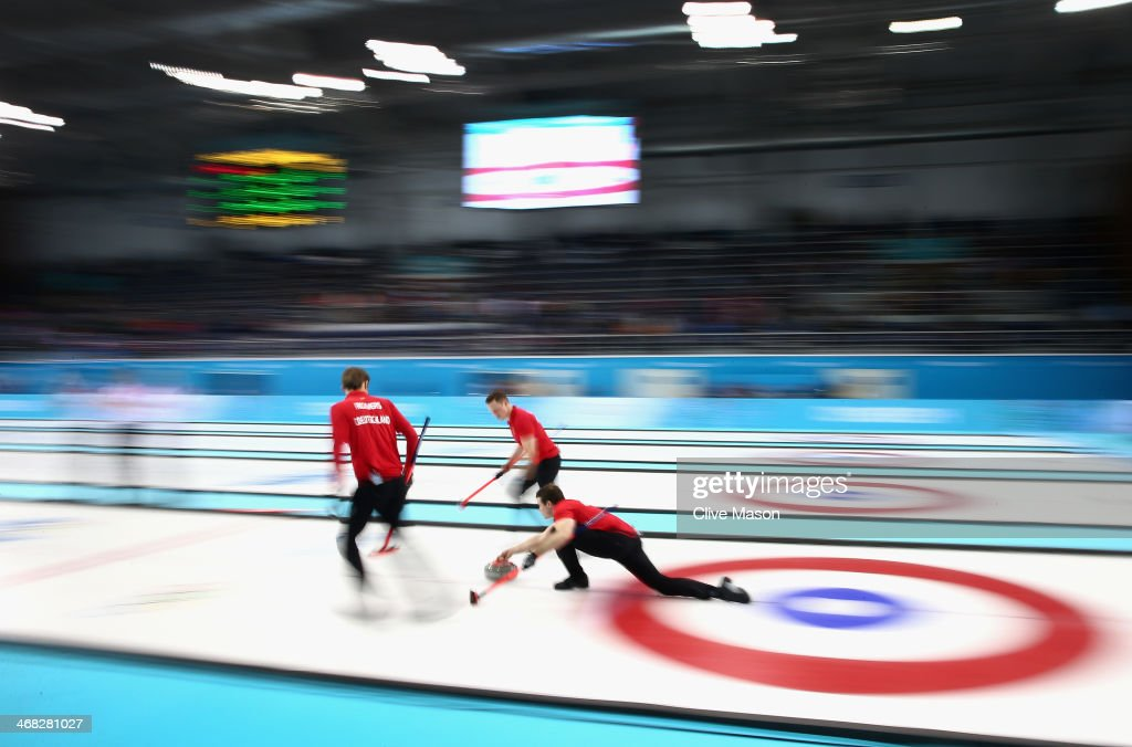 Felix Schulze of Germany in action during the round robin match against Canada during day 3 of the Sochi 2014 Winter Olympics at Ice Cube Curling Center on February 10, 2014 in Sochi, Russia.