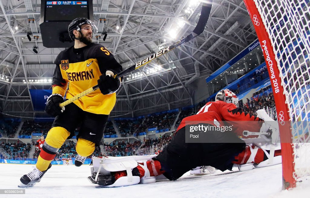 Felix Schutz #55 of Germany celebrates a goal by Matthias Plachta #22 of Germany in the second period against Kevin Poulin #31 of Canada during the Men's Play-offs Semifinals on day fourteen of the PyeongChang 2018 Winter Olympic Games at Gangneung Hockey Centre on February 23, 2018 in Gangneung, South Korea.