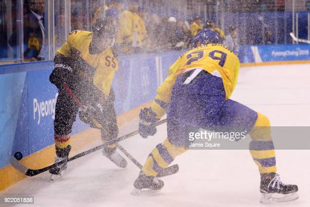 Felix Schutz of Germany skates against Erik Gustafsson of Sweden during the Men's Playoffs Quarterfinals game on day twelve of the PyeongChang 2018...