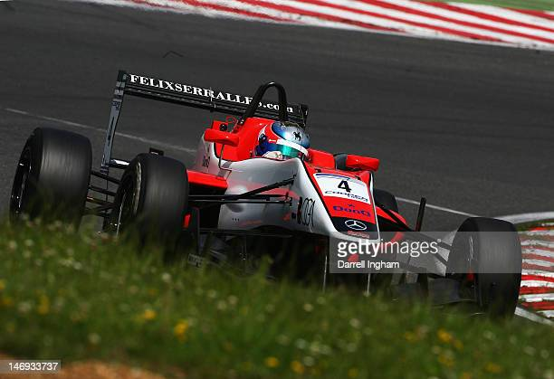 Felix Serrales of Puerto Rico drives the Fortec Motorsport Dallara F312 Mercedes during practice for the Cooper Tires British Formula 3 Championship...