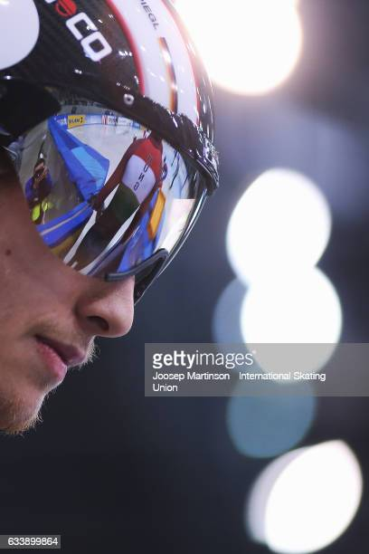 Felix Spiegel of Germany prepares for the Men's 500m quarter final during day two of the ISU World Cup Short Track at EnergieVerbund Arena on...