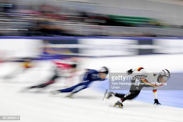 Felix Spiegl of Germany leads the field in the Men's 1500 meter rep heat during the ISU World Cup Short Track Speed Skating event on November 12 2016...