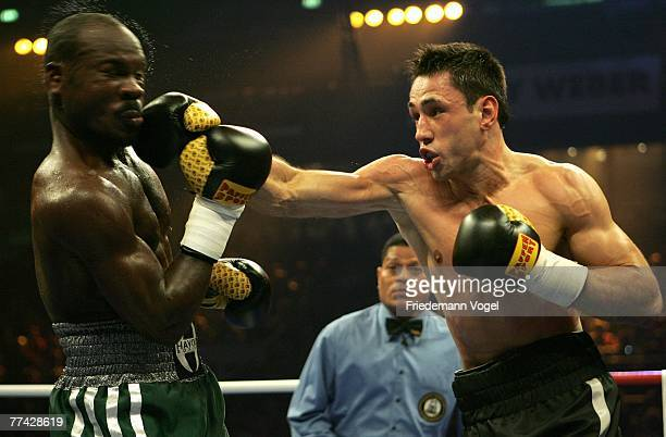Felix Sturm in action with Randy Griffin during the WBA Middleweight World Championship fight between Felix Sturm of Germany and Randy Griffin of the...