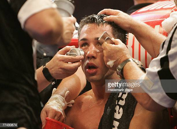 Felix Sturm looks on during the WBA Middleweight World Championship fight between Felix Sturm of Germany and Randy Griffin of the USA during the...