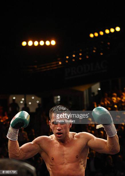 Felix Sturm of Germany celebrates after the WBA middleweight world championship fight against Randy Griffin of United States of America at the Gerry...