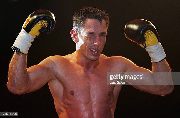 Felix Sturm of Germany celebrates after winning the WBA Middleweight Championship Fight against Javier Castillejo of Spain at the Koenig Pilsener...