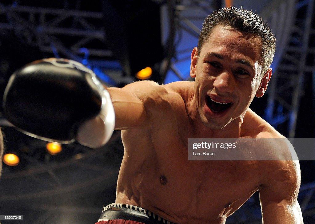 Felix Sturm of Germany celebrates after winning the WBA middleweight world championship fight against Sebastian Sylvester of Germany at the Koenig Pilsener Arena on November 1, 2008 in Oberhausen, Germany.