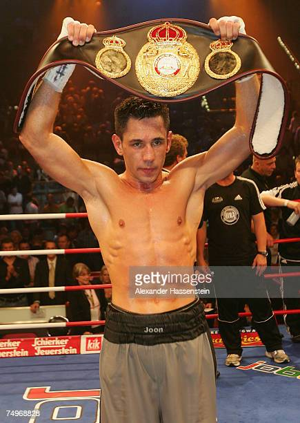 Felix Sturm of Germany celebrates victory after the WBA World Championship fight between Felix Sturm of Germany and Noe Tulio Gonzales Alcoba of...