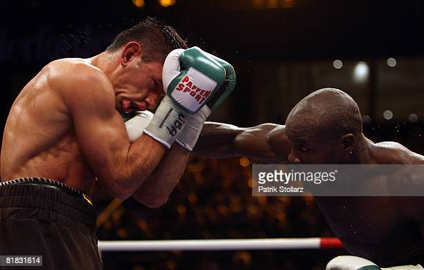 Felix Sturm of Germany in action during the WBA middleweight world championship fight against Randy Griffin of USA at the Gerry Weber stadium on July...