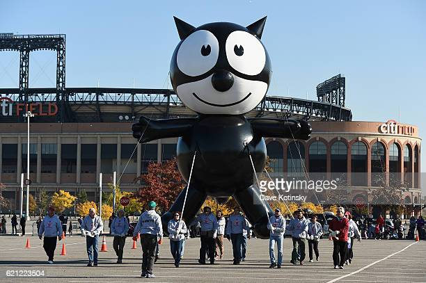 Felix the Cat flies at Macy's Balloonfest in preparation for the 90th Anniversary Macy's Thanksgiving Day Parade at Citi Field on November 5 2016 in...