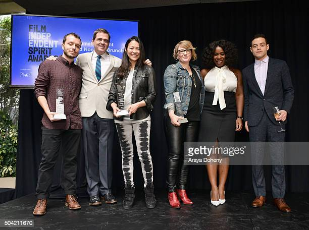 Felix Thompson Josh Welsh Elizabeth Chai Vasarhelyi Mel Eslyn Rami Malek and Uzo Aduba attend the 2016 Film Independent Filmmaker Grant and Spirit...